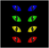 Halloween spooky eyes vector set isolated on black background. Illustration of Evil, dangerous, wild angry cat iris in darkness.  vector illustration