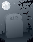 Halloween Spooky Graveyard. Halloween night scene with a gravestone in a spooky graveyard. Empty space for a message. Eps file available vector illustration