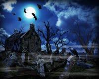 Halloween Spooky Graveyard Stock Images