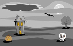 Halloween spooky house night scene Stock Photography