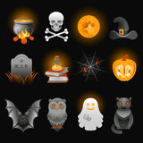 Halloween spooky icons set. Halloween spooky icons set on black background Royalty Free Stock Photos