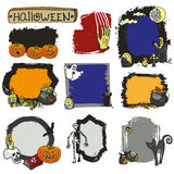 Halloween spooky label set. Doodles badges Royalty Free Stock Photography