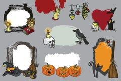Halloween spooky lebel set.Doodles Design template Stock Image