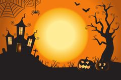 Halloween Spooky Nighttime Scene Horizontal Background 1.  Royalty Free Stock Photo