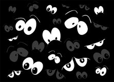 Halloween spooky scary eyes  vector  design  on black ba Stock Images