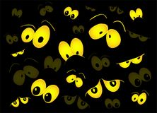 Halloween spooky scary eyes  vector  design isolated on black ba. Ckground Stock Photo