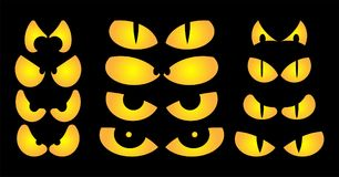Halloween spooky scary eyes  vector  design isolated on black ba Royalty Free Stock Photos