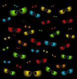 Halloween spooky scary eyes  vector  design isolated on black ba Stock Photos