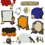 Halloween spooky set.Doodles  badges Royalty Free Stock Photography