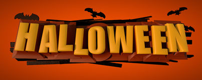 Halloween Spooky Text. Halloween 3D text with bats. Clipping path included for easy selection Stock Photo