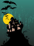 Halloween Spooky Tree. An illustration of a classic haunted house on a cliff Royalty Free Stock Image