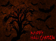 Halloween. Spooky tree and bats. Vector illustration Stock Image
