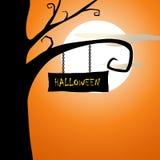 Halloween spooky tree and evening moon Royalty Free Stock Photo
