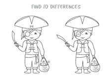 Halloween spot the difference game for kids. Halloween themed find all differences educational game for kids, Boy in pirates costume with pumpkin bag full of Royalty Free Stock Images