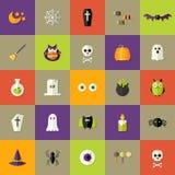 Halloween Square Flat Icons Set Stock Photos