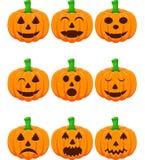 Halloween ställde in med pumpor Stock Illustrationer