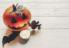 halloween stålarlyktapumpa med häxaspöken slår till och spindeln Royaltyfria Foton