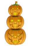 Halloween Stack of Three Carved Pumpkins Royalty Free Stock Image