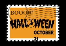 Halloween Stamp. A orange Halloween Stamp on black background Royalty Free Stock Photography