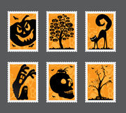 Halloween stamp set Royalty Free Stock Photo