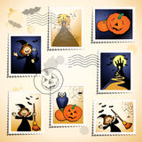 Halloween stamps. Sereis of funny stamps and postmark, Halloween theme Royalty Free Stock Photography