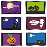 Halloween stamps. Set of stamps with theme Halloween.Vector Stock Photo