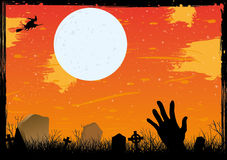 Halloween starry night on cemetery red card Stock Photo