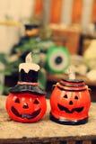 Halloween Steckfassung-Olaterne Lizenzfreies Stockfoto