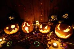 Halloween-Steckfassung-Olaternenkürbise Lizenzfreies Stockfoto