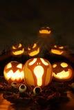 Halloween-Steckfassung-Olaternenkürbise Stockfotos
