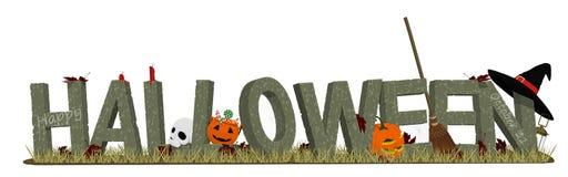 Halloween-steenalfabet en de toebehoren stock illustratie