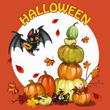Halloween stellte mit Kürbis, Schläger und Spinne ein Stockfoto