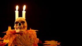 Halloween-steun skul en kaars bij de zwarte animatie als achtergrond stock video