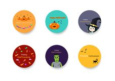 Halloween, sticker banner circles collection set for kids, celebration holiday season, party festival cartoon abstract background stock illustration