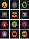 Halloween Sticker or Card Set. Halloween set, suitable for cards, little invitations, stickers or memory game cards. 12 images available Royalty Free Stock Images