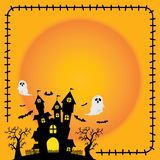 Halloween sticker element silhouette castle orange background. royalty free illustration