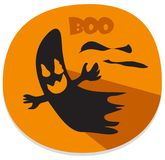 Halloween sticker with haunted spirit. Orange halloween sticker or icon with haunted spirit. Halloween theme clean design Stock Images