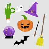 Halloween sticker pack. Set of halloween icons. Pumpkin, broomst. Ick, witch hat, zombie hand, ghost, bat, magic wand and crystal ball Royalty Free Stock Photography