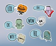 Halloween sticker pack. Zombie, skeleton, mummy and other scary characters with speech bubble. Vector illustration set. Royalty Free Stock Photos