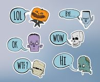 Halloween sticker pack. Zombie, skeleton, mummy and other scary characters with speech bubble. Vector illustration set. Stock Image