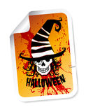 Halloween sticker with skull in hat Royalty Free Stock Images