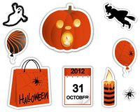 Halloween stickers. Sticker pumpkin with a burning candle, the ghost, witch and other symbols of the holiday. Halloween stickers.  Vector illustration Royalty Free Stock Image