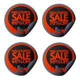 Halloween stickers 50,60,70,80 with cat in the cemetery. Vector illustration vector illustration