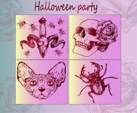 Halloween-stickers - Creatief idee Stock Afbeelding