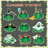 Halloween stickers green toads fashion costume outfits. Cartoon style vector illustration isolated on white background Royalty Free Stock Image