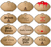 Halloween stickers isolated on white background. Vintage labels Stock Photos