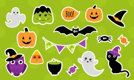 Halloween stickers for kids. Isolated. Vector. Halloween stickers for kids. Set of cute cartoon Halloween icons. Vector illustration royalty free illustration