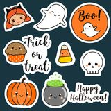 Halloween stickers, patches, badges. Cute pumpkin, ghosts, kids and other holiday symbols in kawaii style. Design elements for children party invitations Stock Image