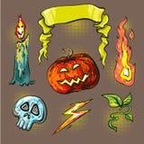 Halloween stickers halftone lights stock illustration