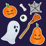 Halloween stickers made of hand painting stock illustration